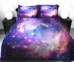 galaxy, bed, and stars image