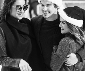 lucy hale, tyler blackburn, and shay mitchell image