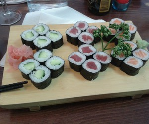 sushi, food, and pale image