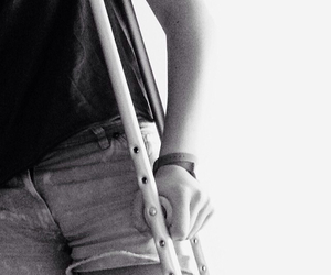 black, black and white, and crutches image