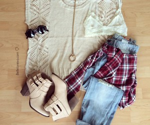 fall, flannel, and outfit image