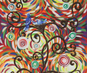 love birds, tree of love, and large art image