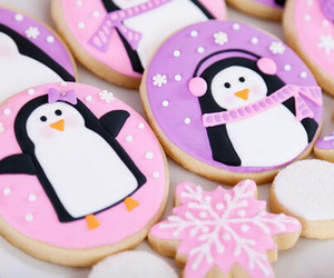 Cookies, penguin, and pink image