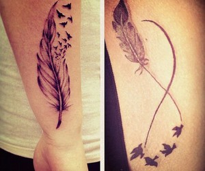 birds, feather, and tattoo image