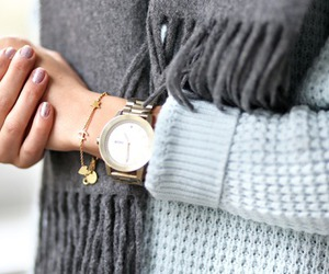 fashion, scarf, and watch image