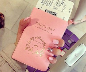 pink, passport, and nails image