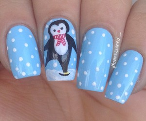 nail art, nails, and penguin image