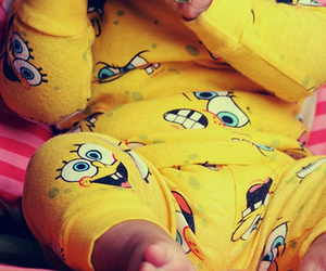 baby, yellow, and spongebob image
