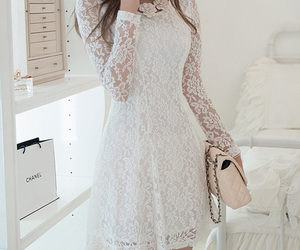 lace dress, gathered, and long image