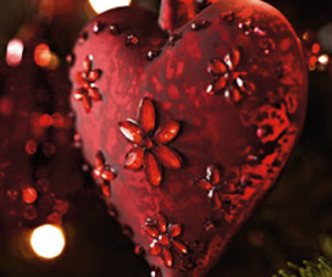 christmas, ornament, and red heart image
