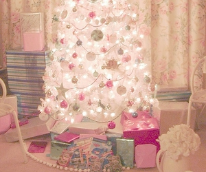 christmas, christmas tree, and pink image