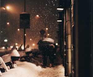 lamps, snow, and street image