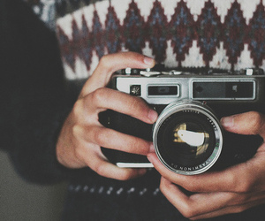 camera, Film Photography, and sweater image