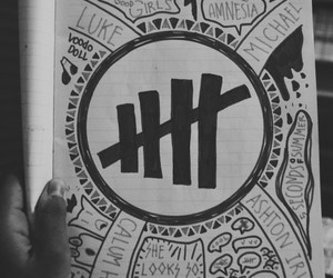 bnw, doodle, and 5sos image