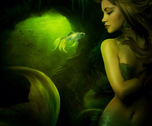 mermaid, fish, and fantasy image