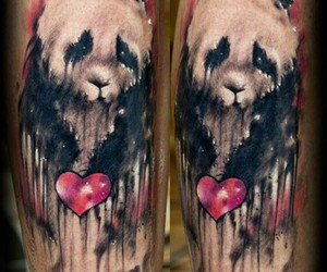 tattoo, panda tattoo, and dark tattoo image