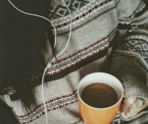 music, coffee, and sweater image