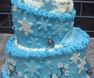 snowflakes, blue cake, and snowman image