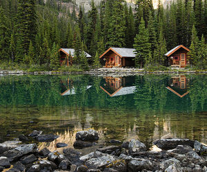 lake, house, and forest image
