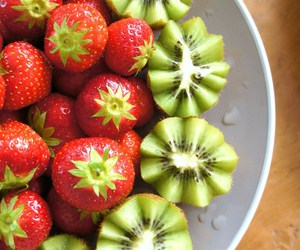 green, strawberries, and red image