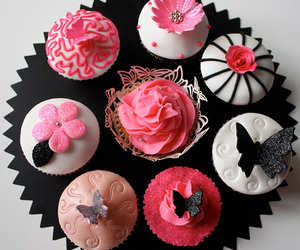cupcake, butterfly, and pink image