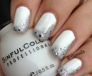 nails, silver, and glitter and white image