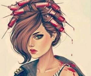 girl, blood, and hair image