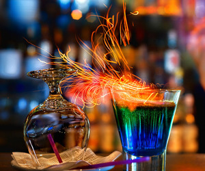 drink, fire, and glass image