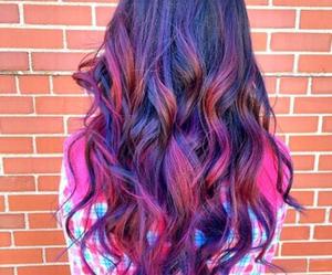 hair, beautiful, and purple image