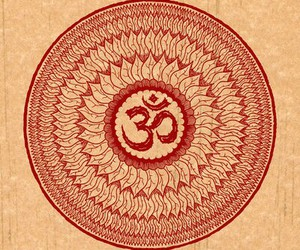 mandala, om, and red image
