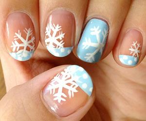 nails, snowflake, and blue image