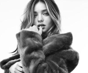 model, miranda kerr, and black and white image