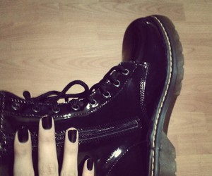 black, black nails, and boots image
