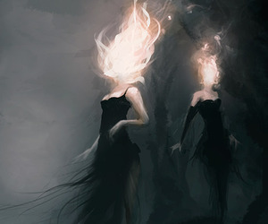 fire, woman, and art image