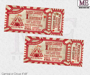 circus party, carnival party, and vintage carnival invites image