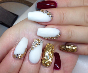 beauty, dark red, and gold image