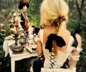 alice in wonderland, tea, and teaparty image