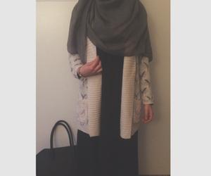 cardigan, hijab, and abaya image