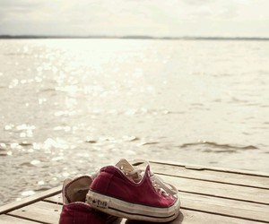 converse, sea, and shoes image