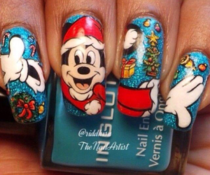 mickey mouse, blue, and nails image