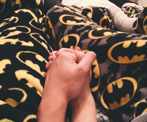 batman, couple, and holding hands image