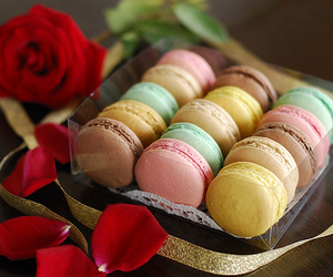 food, macaroons, and rose image