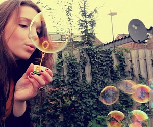 bubbles, blowing, and blowing bubbles image