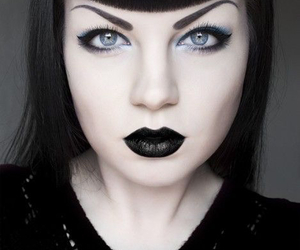 black lipstick, mo, and dark make-up image