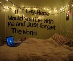 bed, light, and quotes image