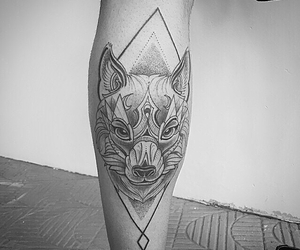 fox tattoo, ink, and leg tattoo image