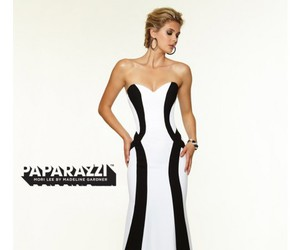 black and white, strapless, and vertical stripes image