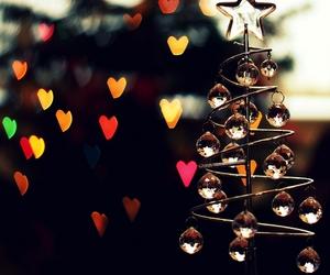 christmas, light, and hearts image