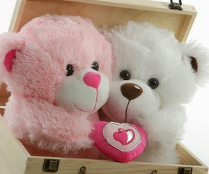 love, bear, and pink image