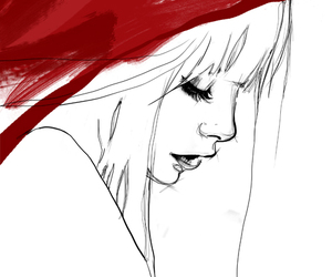 girl, red, and art image